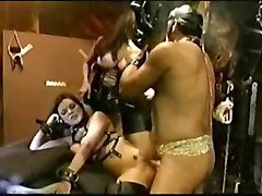 Big titted girl fucks in leather boots