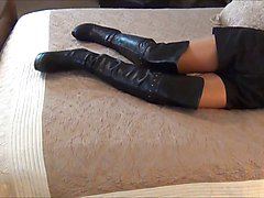 lady in boots with slave