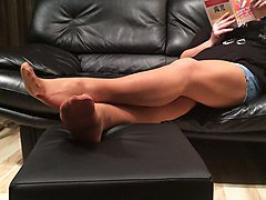Mystepmom long nylon stockings footplay