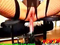 Blondes pussy gets drilled by a machine