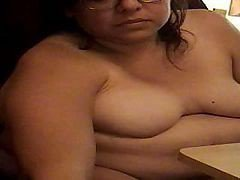 Big Fat Bitch Grossly Eating Some Food And Showing It To Cam