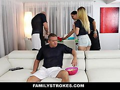 familystrokes - teens fucks pervy stepuncle during superbowl