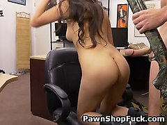 brunette bimbo samantha parker doggystyled in chair